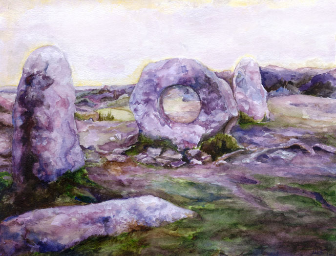 Men An Tol, watercolour painting of a standing stone in cornwall by Amy Letts