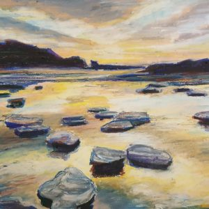 Golden Hour; Oil Pastel Art by Amy Letts
